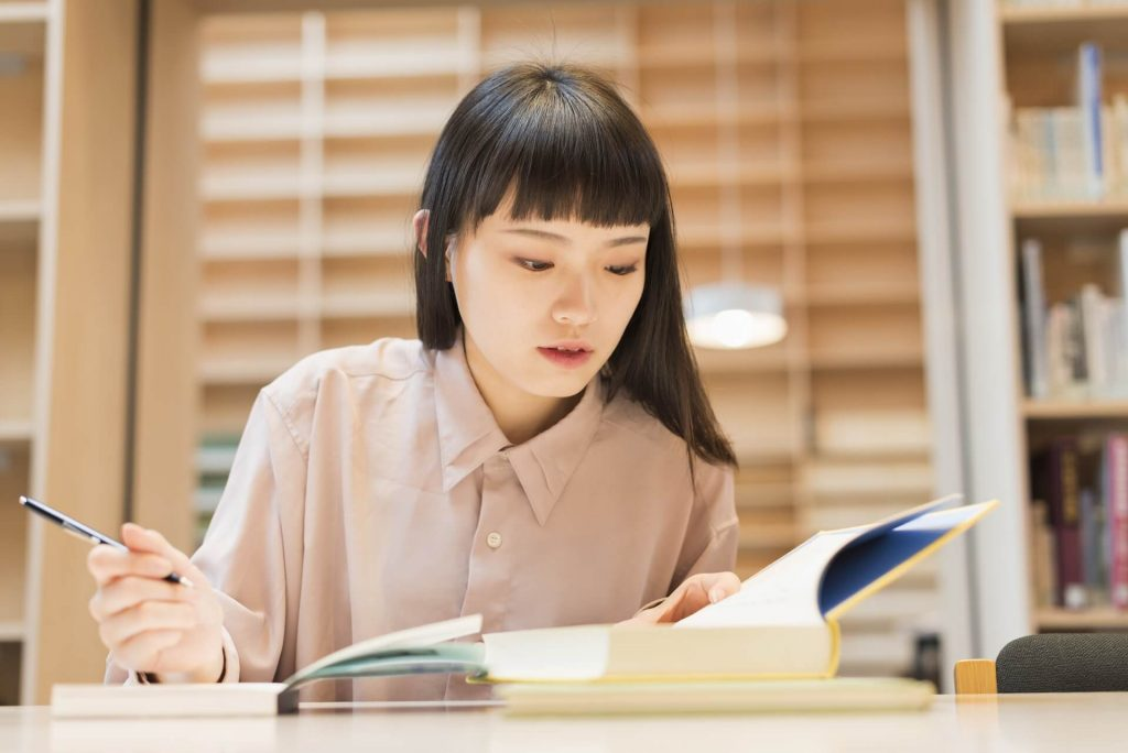 girl working on a document