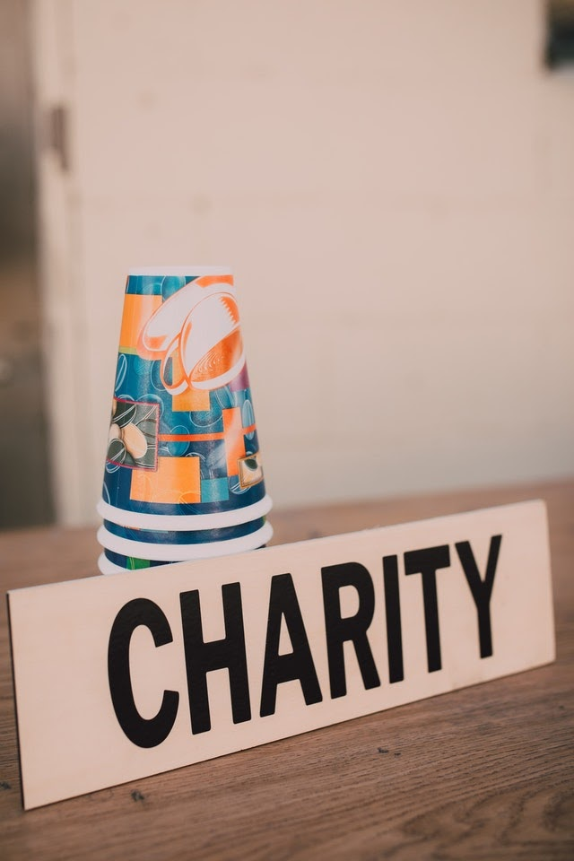 A charity sign at a fundraising event.