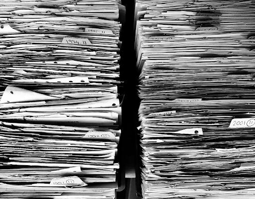 stacks of IRS paperwork